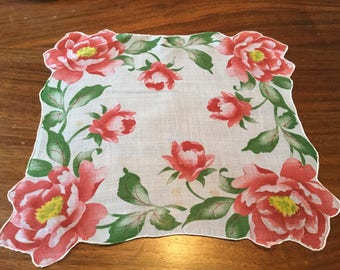 Vintage White Women's Handkerchief White with Red Roses