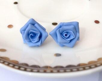 Pale Blue Rose Stud Earrings, Pale Blue Rose Studs, Handmade Polymer Clay Rose Stud Earrings, Blue Flower Earrings, Blue Rose Studs
