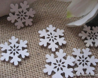 small snowflakes wooden bleached for home decoration or scrapbooking