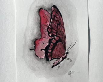 Watercolor Painting - Pink/Red Butterfly