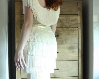 R E S E R V E D • INSANE! 1950's Cream Fringe Wiggle Dress