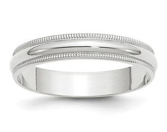 New Solid 14k White Gold Milgrain 4mm Wedding Band Sizes from 4 - 14. Solid Stamped 14k White Gold, Made in the U.S.A.