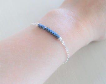 Minimalist 925 sterling silver chain/metallic-blue hematite bracelet.