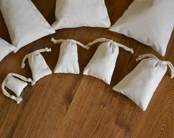 "6""x10"" Cotton Double Drawstring Muslin Bags-(Natural color)"