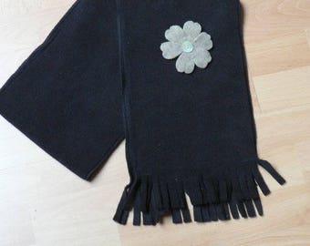 Scarf black color fleece