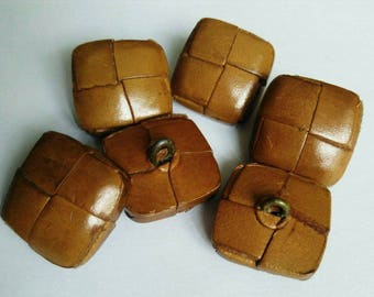 Set of 6 vintage buttons square brown leather