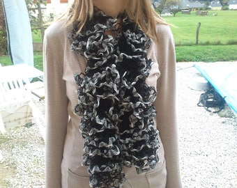 black and white wool scarf, mothers day gift