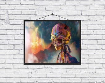 Digital Alien Space Psychedelic unique Poster