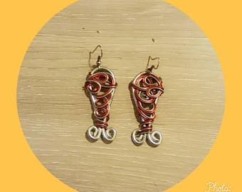 Red and silver aluminum wire earring