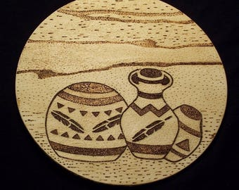 Native American Wooden Wall Plaque W/ Burned Southwestern Pottery