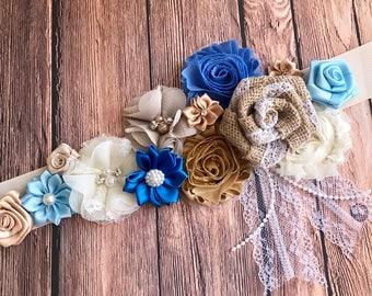 Jute Brown Vintage  White Flower Sash Pregnancy Sash Gender Reveal Party Baby Shower Gift Keepsake Flower Girl Sash Bridal sash