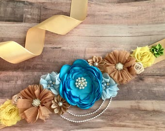 Blue Brown Green Yellow Sash/Maternity/Gender Reveal/Maternity Sash/Pregnancy/Baby Shower/ Keepssake/Gift