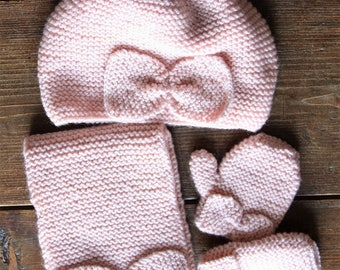 Powder Pink Hat, scarf and mittens wool set