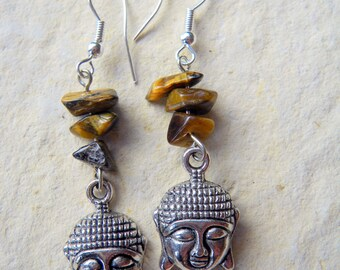 BAROQUE BUDDHA ZEN TIGER EYE 925 SILVER EARRINGS
