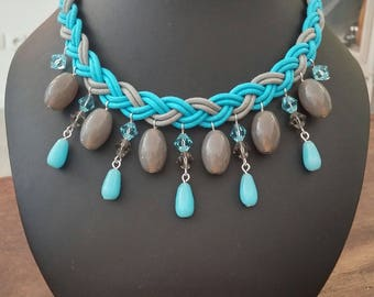 Blue and grey braided necklace