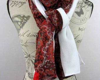Large long scarf 200 x 90 red and white Athena