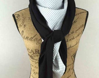 Large square scarf white, black and gray 140x140cm Aline