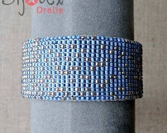Silver and blue leather Cuff Bracelet
