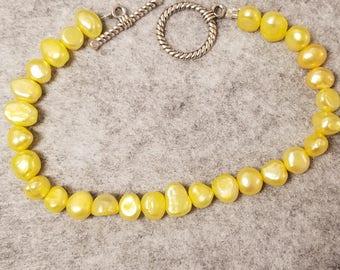 Yellow Potato Pearl bracelet  9 1/1 inches long