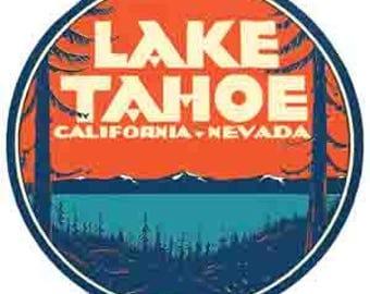 Vintage Style Lake Tahoe California Nevada Travel Decal sticker
