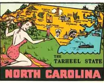Vintage Style North Carolina  NC Tarheel State map pin-up girl  Travel Decal sticker