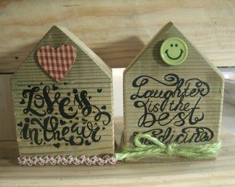 set of 2 Scandinavian wooden small houses