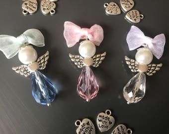 Christening Baptism Angel Pin Brooch Charm Beads Pendant