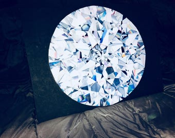 """Realistic diamond painting. Top view, done with acrylic. 18"""" diameter."""