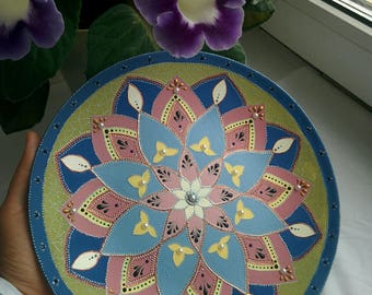 Handpainted wooden plate