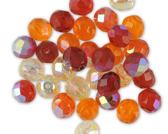 Assortment of 20 Red mix glass faceted beads / orange ⌀ 8 mm
