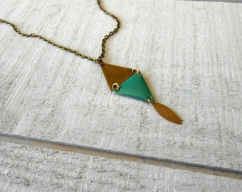 Necklace bronze sequin turquoise enamel and sequin triangle