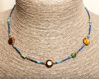 Tiger eye and Lapis Lazuli Choker necklace