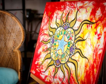Blazing Sun painting - art mandala