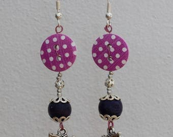 OWL - bead and button earrings