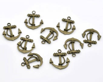 Anchor charm/Pendant (x 4) bronze colored metal