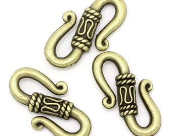 4 large connectors/clasps spiral ethnic bronze metal