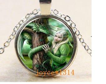 1 Elf and matte silver dragon motif Medallion Choker necklace