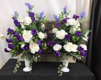 Bridal Wedding Church Altar Pew Arrangement White and Purple Silk Flowers Decoration