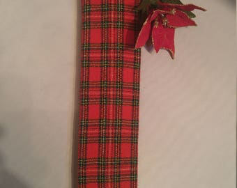 Classic Rooster Christmas Plaid Skinny Tie
