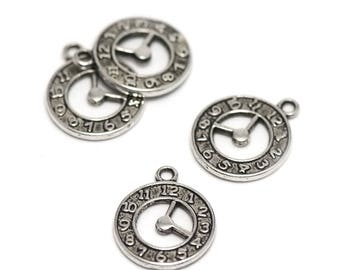 """4 charms """"clock"""", 21 x 18 mm, silver, A 027"""