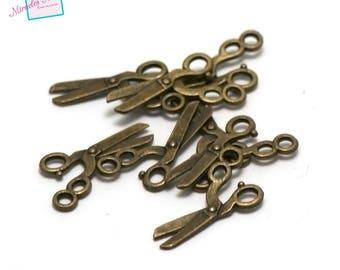 "bronze 20 ""20 x 11 mm scissors"" charms, 003"