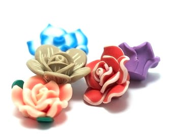 "6 beads ""Polynesian flowers"" n ° 2, 24 x 14 mm, assorted colors"