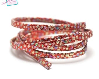 """1 m strap leather 5 x 2 mm, doubled """"Opal"""", Red"""