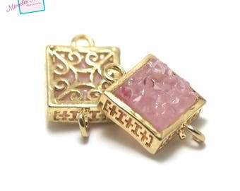 "1 connector gemstone ""pink agate"" square 16 x 10 x 6 mm, gold"