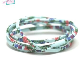 """1 m of imitation blue lined """"flower"""" 5 mm flat leather cord"""