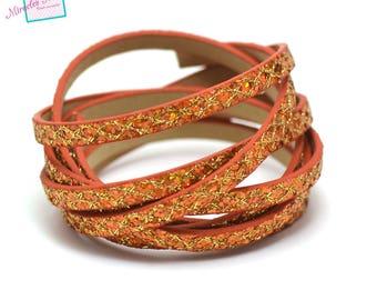 "1.15 m Strip split double fantasy ""spangle yarn"" 5 mm leather, golden orange"