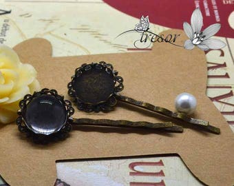 barretes, accessories, hair, bronze, 15mm, support, cabochon, glass