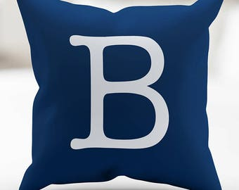 Monogrammed Type Navy-Denim Blue and White Pillow Cover 18 x 18 Inches