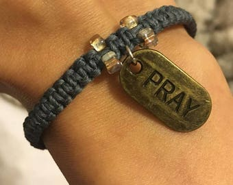 Pray Gray Hemp Bracelet