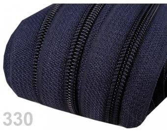 zipper at the meter Blue Navy mesh 3 mm spiral